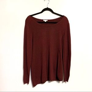 J Jill Maroon Asymmetric Sweater Small Soft Cozy